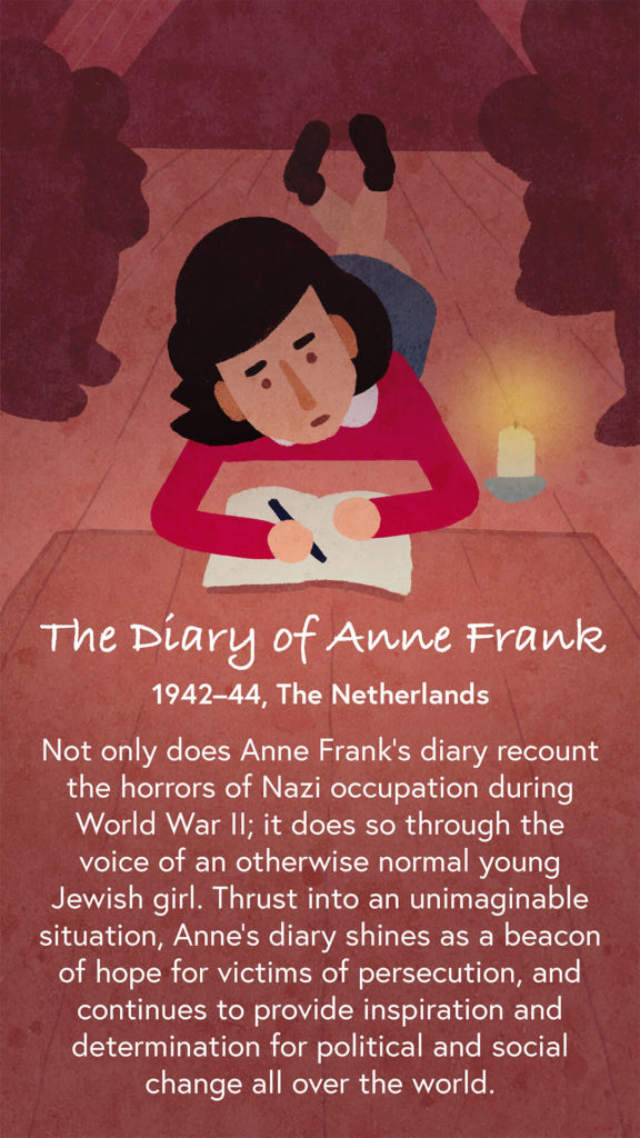 An illustration of Anne Frank hidden in an attic, she is writing her diary by candlelight.
