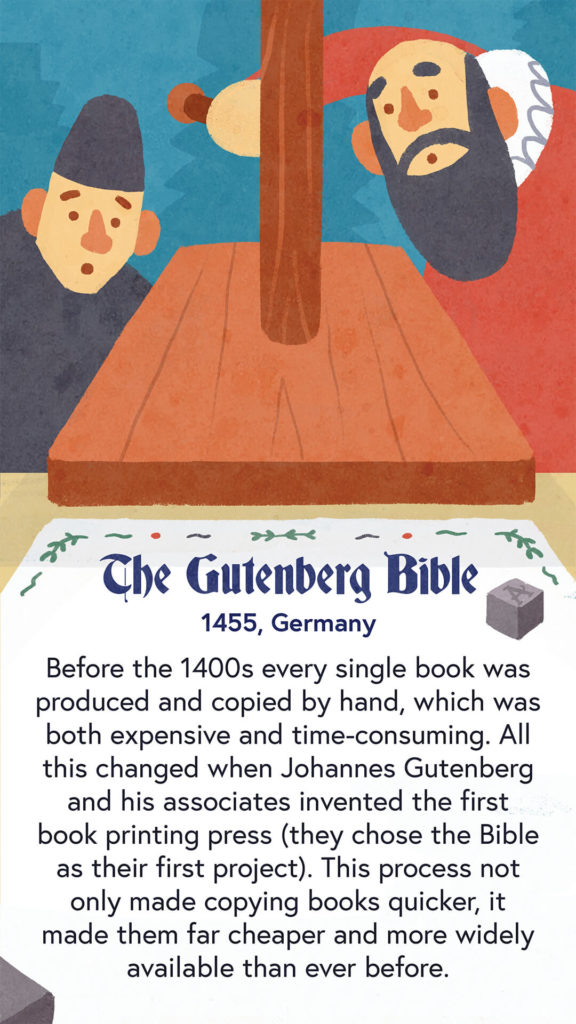 An illustration of Johannes Gutenberg and an associate standing over the first printing press. They are printing the Gutenberg bible.