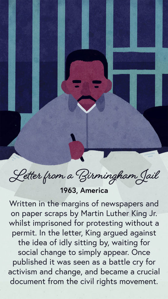 An illustration of Martin Luther King Jr writing. The table is busy with many scraps of paper.
