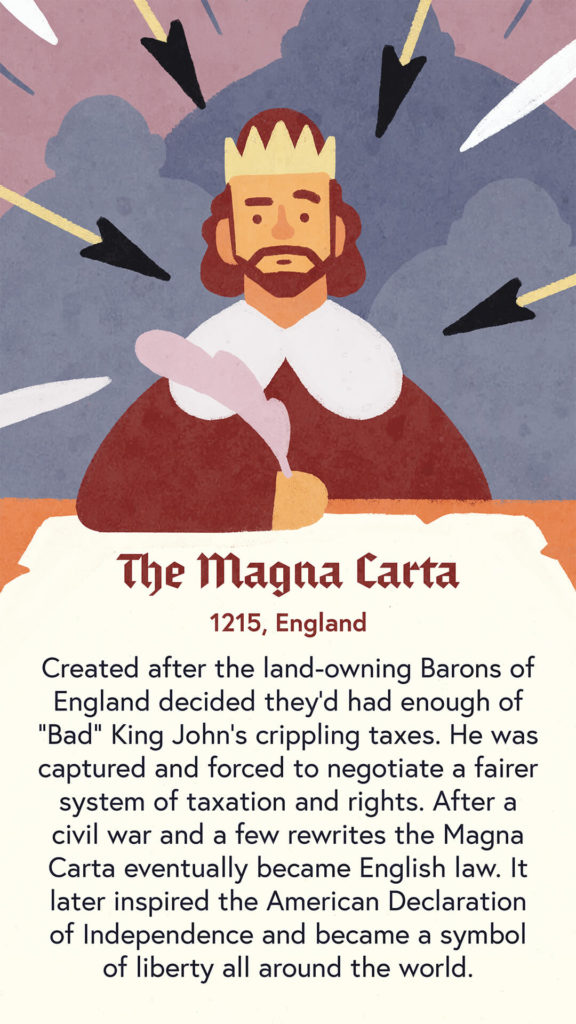 An illustration of King John of England standing sitting at a desk where he is being forced to sign the Magna Carta