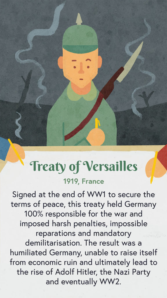 An illustration of a soldier standing on a battlefield. He is signing the Treaty of Versailles and looks apprehensive.